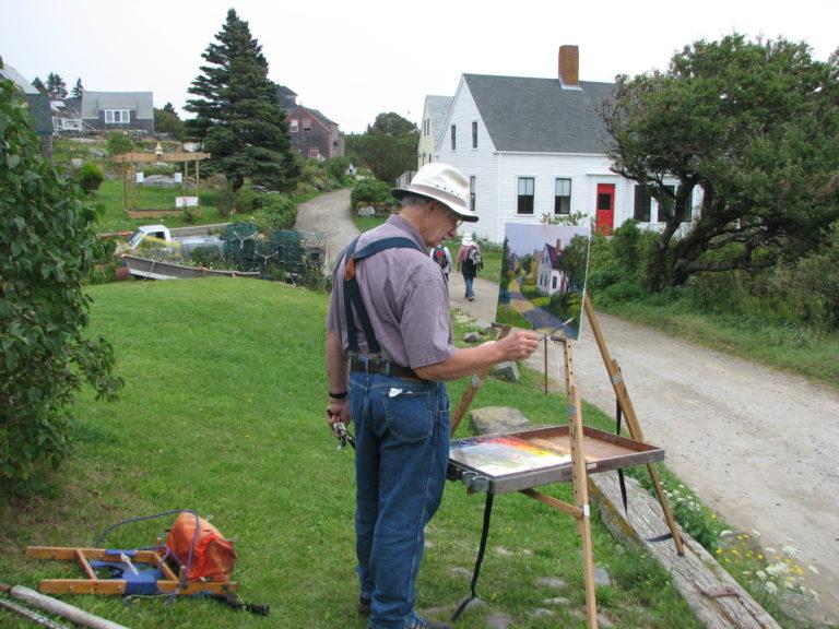 Walt Painting The Vaughn House On Monhegan Island, Me